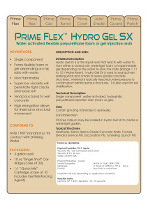 Hydro Gel SX Data Sheets