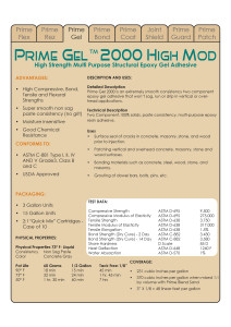 Prime Gel 2000 Data Sheets