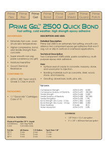 Prime Gel 2500 Data Sheets