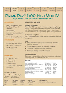 Prime Rez 1100 Data Sheets