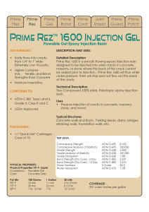 Prime Rez 1600 Data Sheets